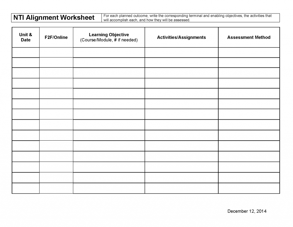 NTI Alignment Worksheet