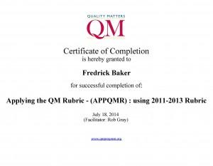 QM Applying QM Rubric Certificate
