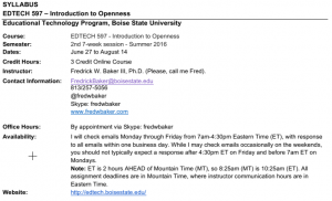 Text on syllabus describing office hours and contact