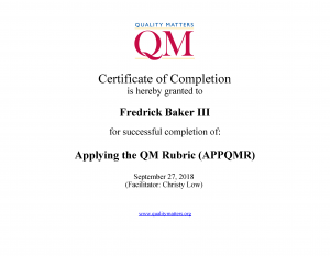 QM Applying the QM Rubric Certificate