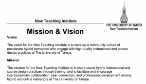 NTI Mission Vision Statement Text on Paper