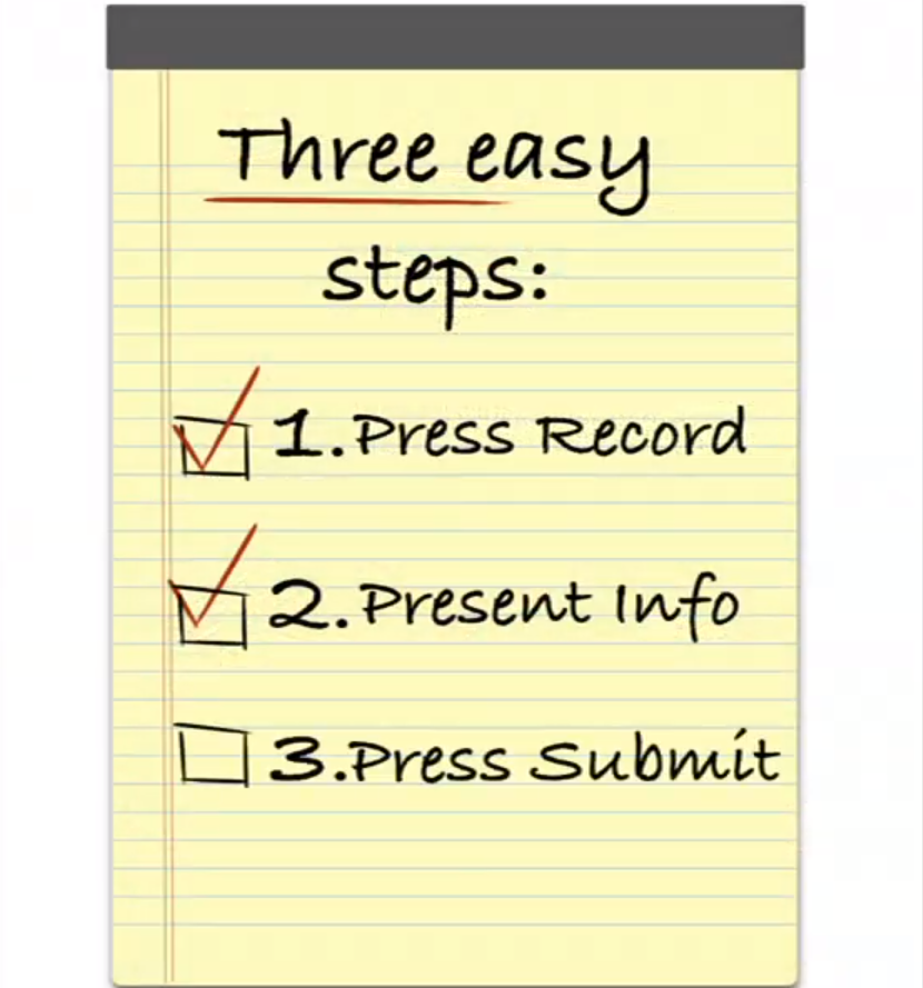 Notepad showing 3 steps for Camtasia Relay