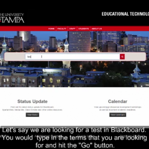 Screenshot of website navigation with video captions